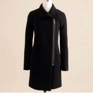 J. Crew Double Cloth Envelope Coat SZ 6 Black